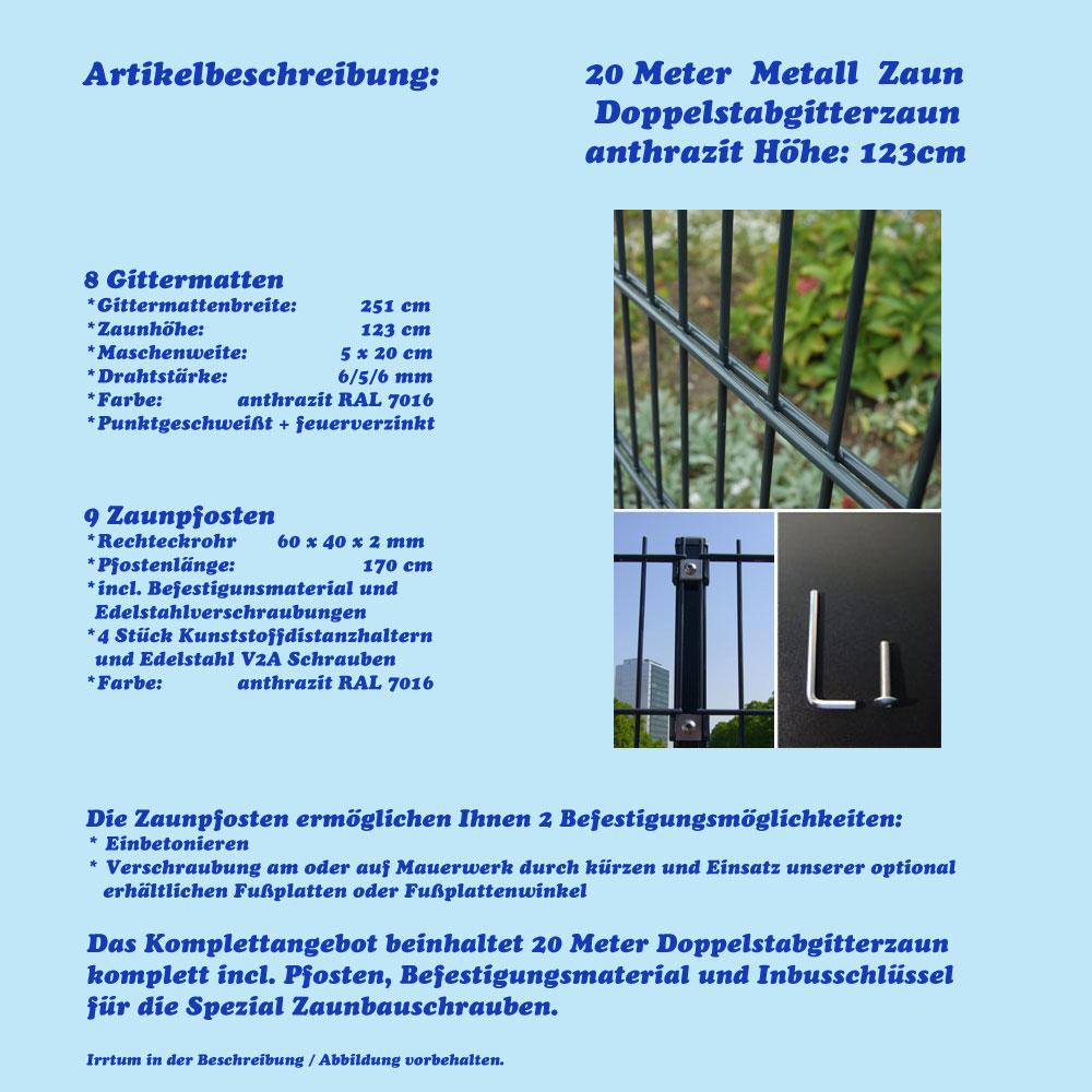 Neu 20m Metall Zaun Höhe: 123cm Gartenzaun anthrazit Zäune  RR99