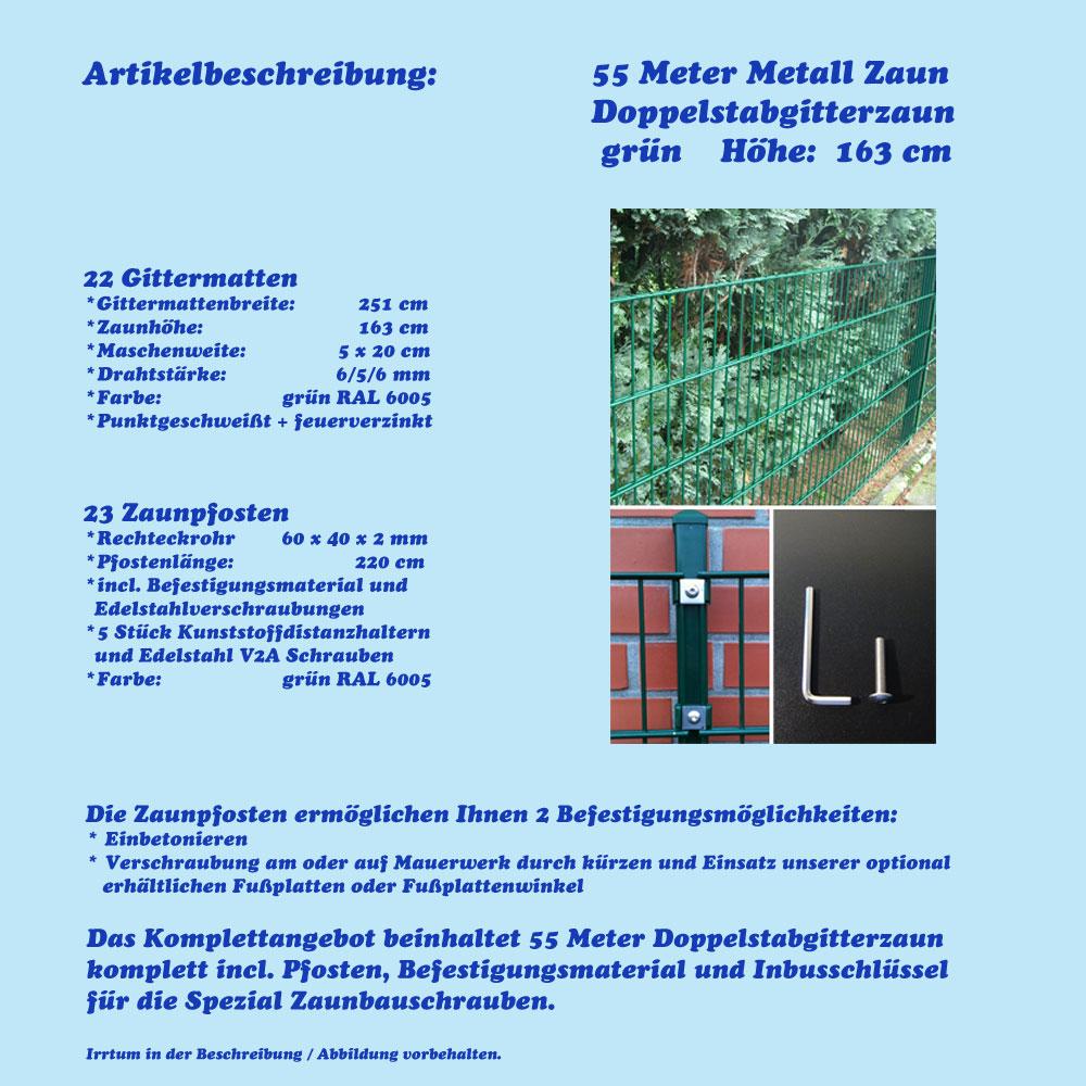 55m Metall Zaun Höhe 163cm Gartenzaun Farbe grün ...