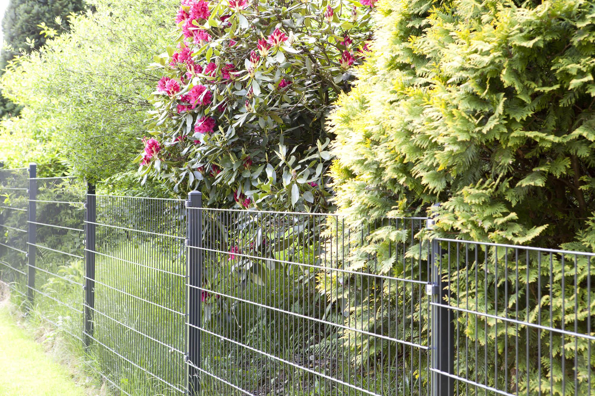 Gartenzaun Metall Set 12 Meter Höhe 805 mm grün Doppelstabgitter