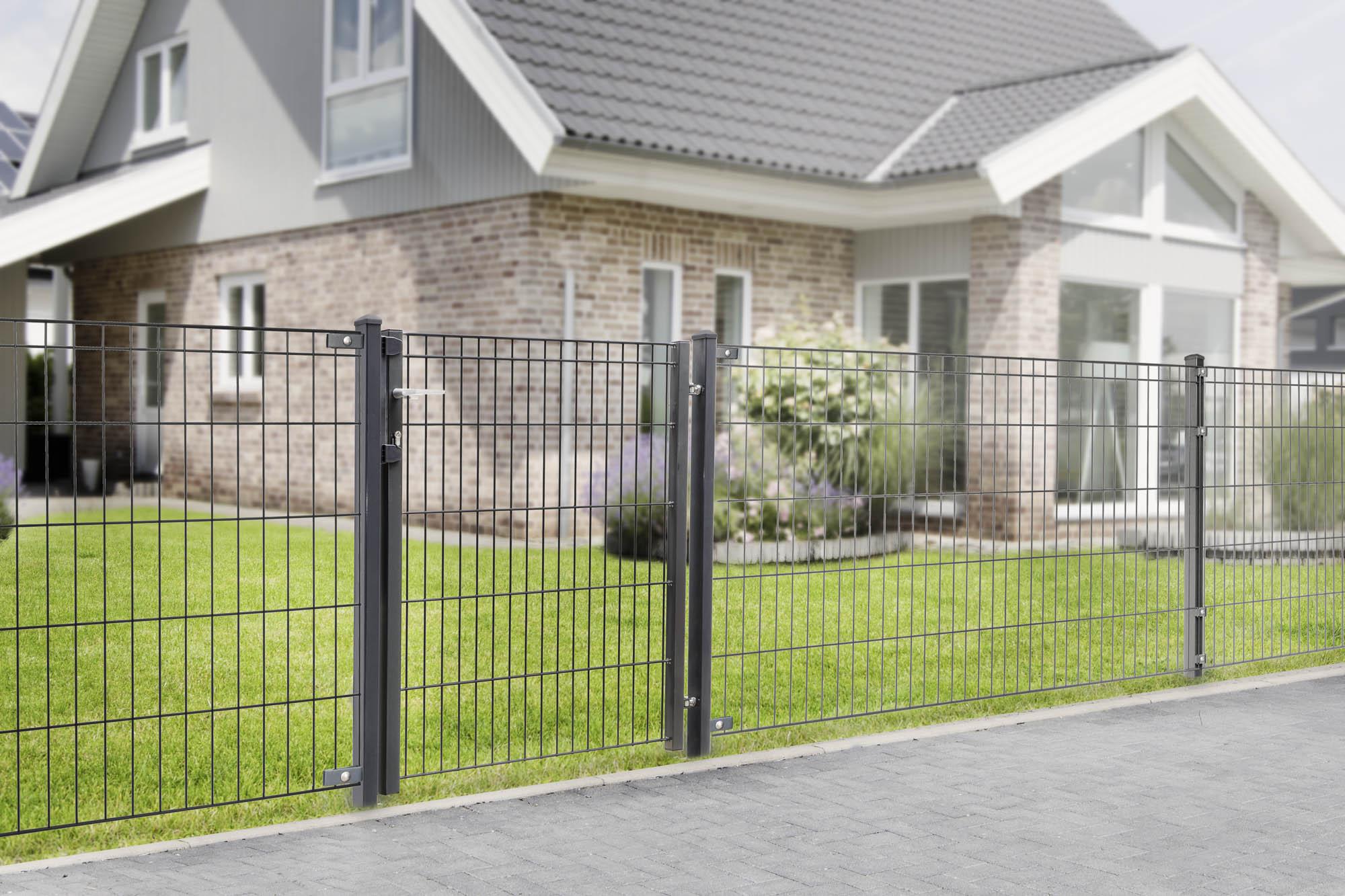 gartenzaun inkl tor komplett set 805 1005 oder 1205 mm gr n gittermattenzaun. Black Bedroom Furniture Sets. Home Design Ideas