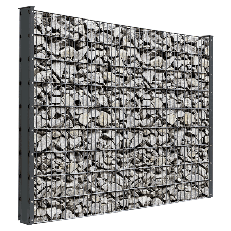 Gabionenzaun Steinzaun Standard zum einbetonieren oder mit Fussplatte